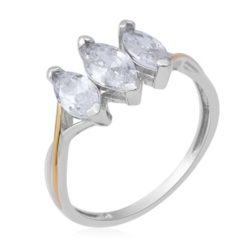 ELANZA Simulated Diamond Three-Stone Ring in Two Tone Overlay Sterling Silver