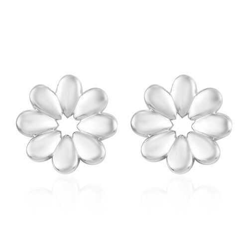 RACHEL GALLEY Platinum Overlay Sterling Silver Floral Stud Earrings (with Push Back)