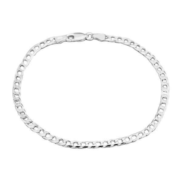 JCK Vegas Collection Rhodium Plated Sterling Silver Diamond Cut Square Curb Bracelet (Size 7.5)
