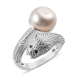Freshwater Pearl and Boi Ploi Black Spinel Panther Ring in Sterling Silver