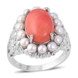 7.75 Ct Living Coral and Freshwater Pearl Halo Ring in Rhodium Plated Sterling Silver 7.39 Grams