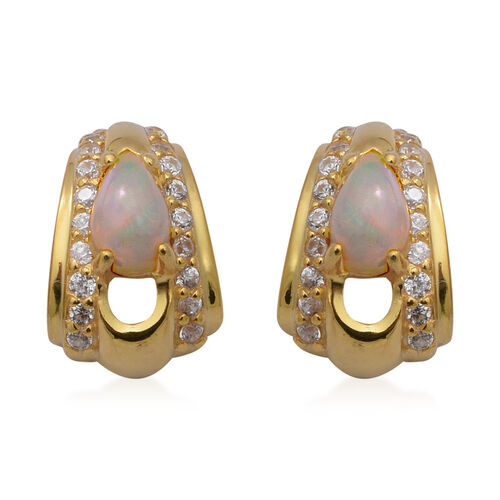 AA Ethiopian Welo Opal and Natural Cambodian Zircon Earrings (with Push Back) in Yellow Gold Overlay