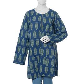 100% Cotton Blue Colour Quilted Reversible Jacket (Size 126x89 Cm, XL/XXL)