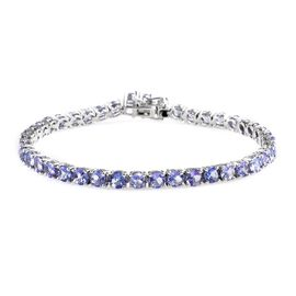 10 Carat Tanzanite Tennis Bracelet in Platinum Plated Sterling Silver 9.30 Grams 7.5 Inch