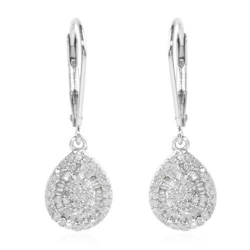 Diamond (Rnd) Earrings (with Lever Back) in Platinum Overlay Sterling Silver 0.500 Ct.