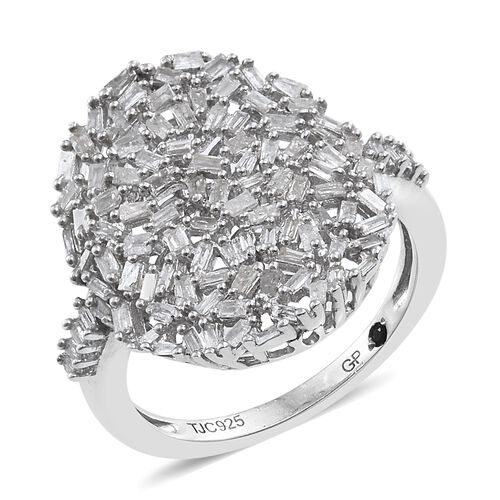 GP Diamond (Bgt), Kanchanaburi Blue Sapphire Cluster Ring in Platinum Overlay Sterling Silver 0.770