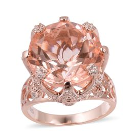Morganite Quartz (Rnd 13.00 Ct), Natural White Cambodian Zircon Ring in Rose Gold Overlay Sterling S