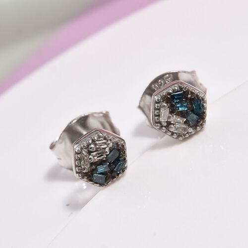 Blue and White Diamond Earrings for Children in Sterling Silver