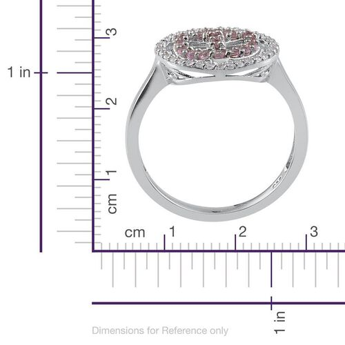Pink Sapphire (Rnd), Natural Cambodian Zircon Symbol of Peace Ring in Platinum Overlay Sterling Silver 0.750 Ct.