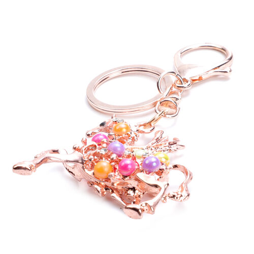 Set of 3 Multi Colour Austrian Crystal, Simulated Pink Sapphire and Multi Gemstone Cherry, Unicorn and Butterfly Enamelled Keychains in Yellow Gold and Silver Tone