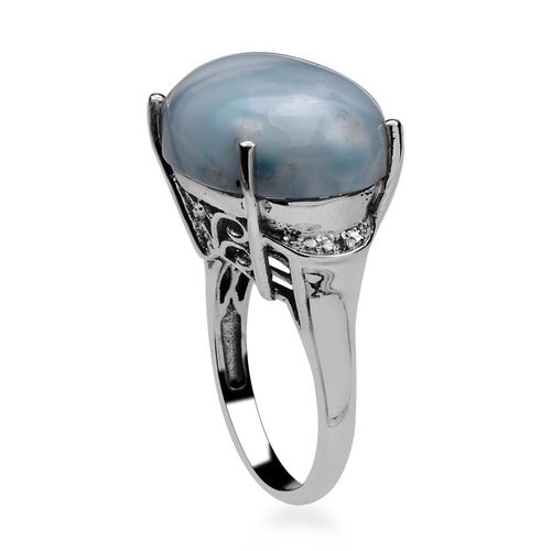 Larimar (Ovl 13.50 Ct), Diamond Ring in Platinum Overlay Sterling Silver 13.510 Ct.