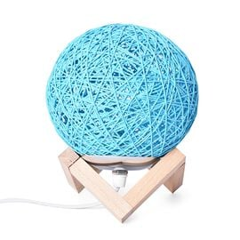 Rattan Ball Table Lamp (Size 14.5x14.5 Cm) - Blue and Beige