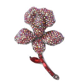 Simulated Ruby and Multicolour Austrian Crystal Flower Brooch in Black Tone