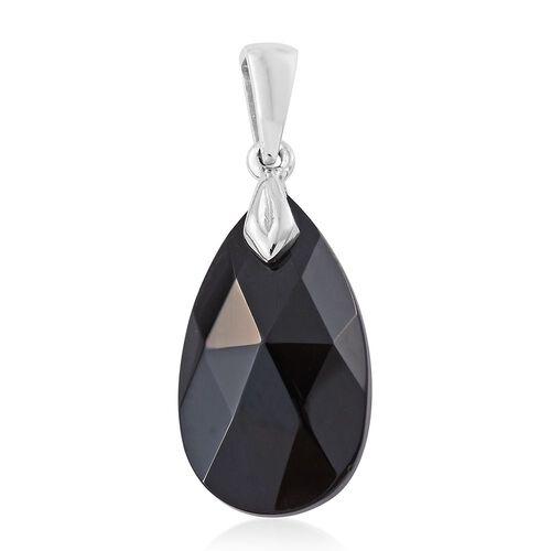 J Francis Crystal from Swarovski - Jet Crystal (Pear) Pendant in Platinum Overlay Sterling Silver