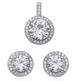 2 Piece Set - ELANZA Simulated Diamond (Rnd) Pendant and Stud Earrings (with Push Back) in Rhodium O