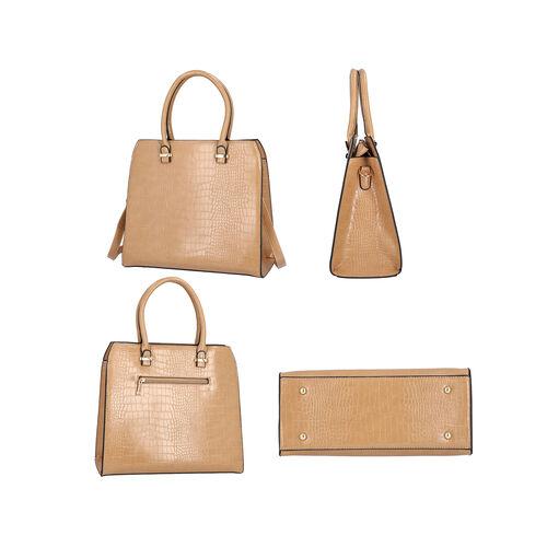 Croc Embossed Satchel Bag with Zipper Closure and Detachable Shoulder Strap (Size 32x12x28 Cm) - Light Brown