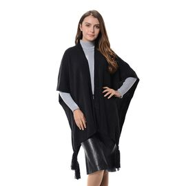 New Season - Luxuriously Soft Black Colour Wrap with Tassels