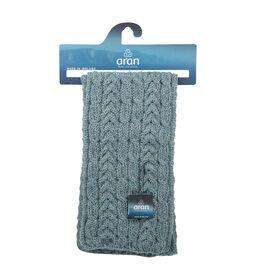 ARAN 100% Pure New Wool Irish Scarf in Grey Colour (Size One)