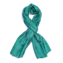 New Season 100% Mulberry Silk Teal Green Colour Scarf (Size 180X100 Cm)
