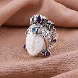Sajen Silver BALI GODDESS COLLECTION - OX Bone Carved Face, Amethyst and Multi Gemstone Ring in Sterling Silver, Silver wt 12.84 Gms