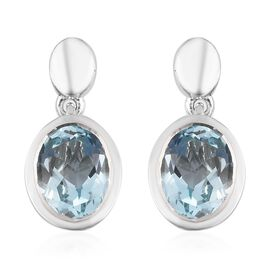 AA Sky Blue Topaz Drop Earrings (with Push Back) in Platinum Overlay Sterling Silver 2.75 Ct.