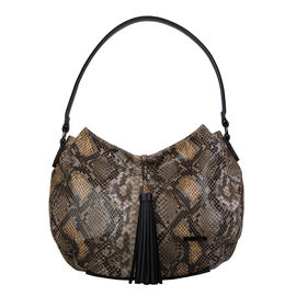 Bulaggi Collection- Snake Hobo Shoulder Bag (Size 35x26x10) - Khaki