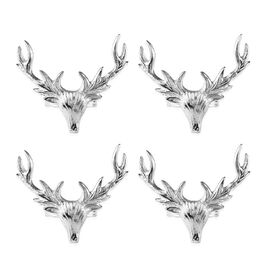 Set of 4 - Stag Head Cast Aluminum Napkin Ring with Gift Box