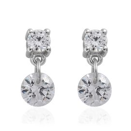 J Francis Platinum Overlay Sterling Silver (Rnd) Earrings (with Push Back) Made with SWAROVSKI ZIRCONIA