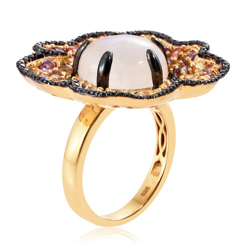 Sri Lankan Rainbow Moonstone (Rnd 10.50 Ct), Rainbow Sapphire Floral Ring in 14K Gold and Black Rhodium Overlay Sterling Silver 14.750 Ct. Silver wt 13.96 Gms.