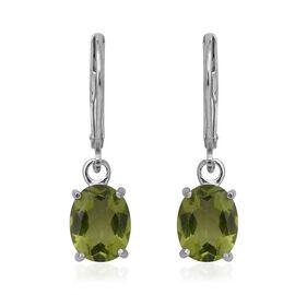 Hebei Peridot (Ovl) Lever Back Earrings in Sterling Silver 4.00 Ct.