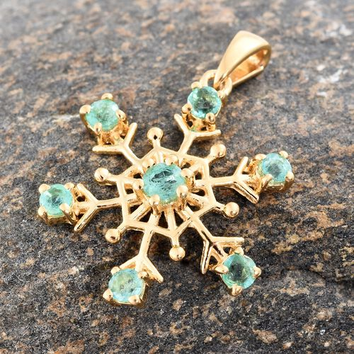 1 Carat Kagem Zambian Emerald Snowflake Pendant in Gold Plated Silver