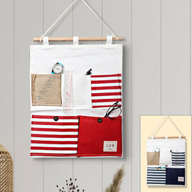 Set of 2 - Hanging Storage Bag Organiser (Size 41x34cm)- White, Blue and Red