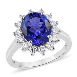 RHAPSODY 950 Platinum AAAA Tanzanite (Ovl), Diamond (VS/E-F) Ring 4.75 Ct.