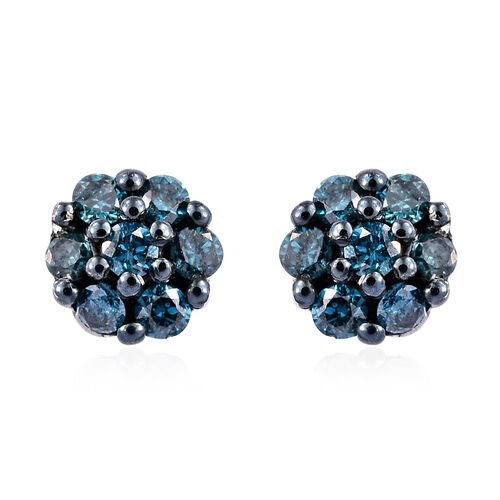 0.2 Ct Blue diamond Cluster Stud Earrings in Platinum Plated Sterling Silver
