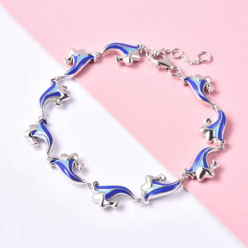 Isabella Liu Embrace Scar Collection Enamelled Bracelet (Size 8) in Rhodium Overlay Sterling Silver