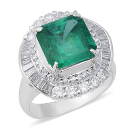 Signature Collection - 900 Platinum AAAA Boyaca Colombian Emerald (Oct 10x10mm), Diamond (I1-I2/G-H)