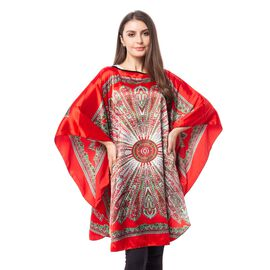 Wine Red Colour Poncho with Floral Pattern (Size 113x94 Cm)
