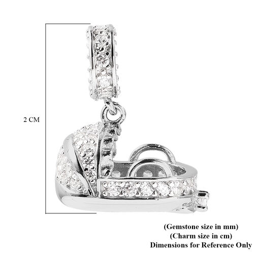Charmes De Memoire - Simulated Diamond Cradle Charm in Rhodium Overlay Sterling Silver Charm/Pendant