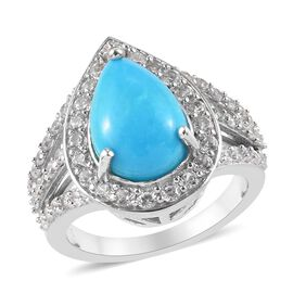 Arizona Sleeping Beauty Turquoise (Pear 12x8mm), Natural Cambodian Zircon Ring in Platinum Overlay S