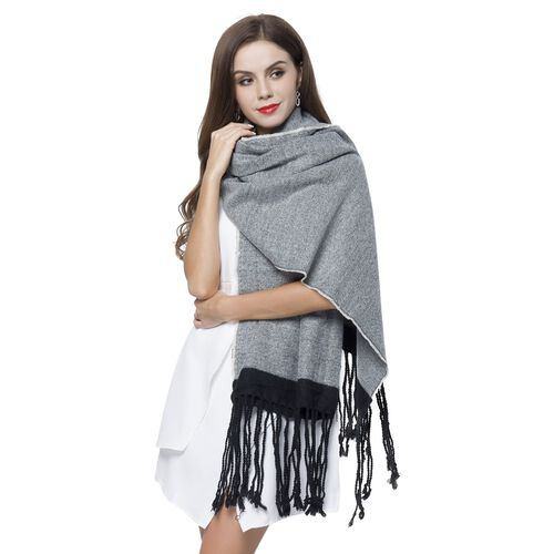 One Time Close Out Deal- Grey and Black Colour Scarf with Tassels (Size 190X70 Cm)