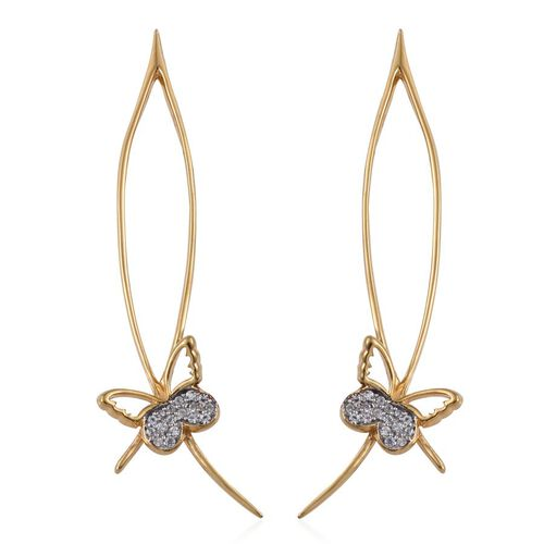 Kimberley Butterfly Collection Natural Cambodian Zircon (Rnd) Butterfly Earrings (with Push Back) in 14K Gold Overlay Sterling Silver