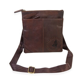 MCS Country Classics: 100% Genuine Leather Unisex Crossbody Messenger Bag (26 x 28 Cms)- Dark Brown