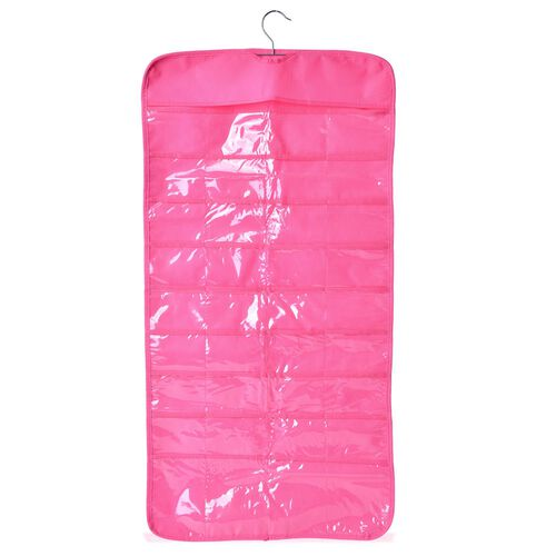 Set of 2 - Pink Colour Hanging Jewellery Organizer with Double Sided 72 Pocket (Size 85x23 Cm)