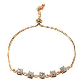 J Francis - Crystal From Swarovski AB Crystal (Rnd) Bolo Bracelet (Size 6.5 -9.5 Adjustable) in Gold Plated