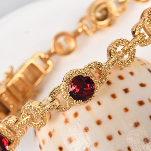 J Francis - Crystal from Swarovski Ruby Colour Crystal Bracelet (Size 7.5) in 18K Yellow Gold Plated