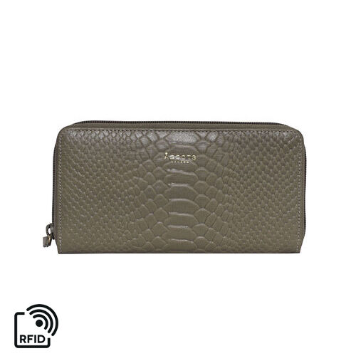 Assots London HAZEL Python Embossed Genuine Leather RFID Zip Around Purse (Size 20x2x10 Cm) - Olive