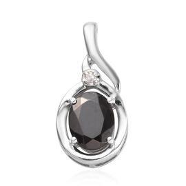 Elite Shungite (Ovl 9x7 mm), Diamond Pendant in Platinum Overlay Sterling Silver 1.260 Ct.