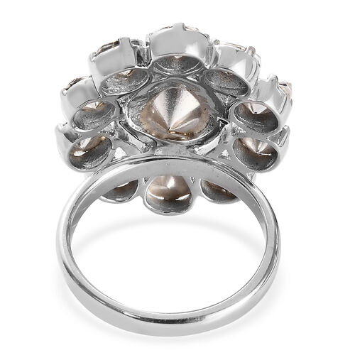 GP- Artisan Crafted Polki Diamond Floral Ring in Platinum Overlay Sterling Silver 2.00 Ct.
