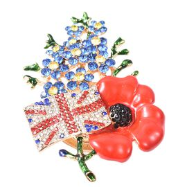 TJC Poppy Design Multicolour Austrian Crystal (Rnd) Poppy Flower and England Flag Brooch in Gold Ton