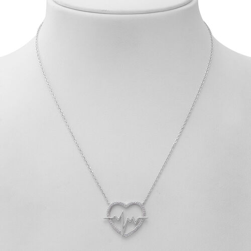 ELANZA Simulated Diamond (Rnd) Adjustable Necklace (Size 17 with 1 inch Extender) in Rhodium Overlay Sterling Silver